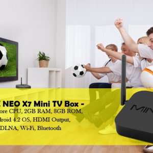 android TV box and people watching soccer