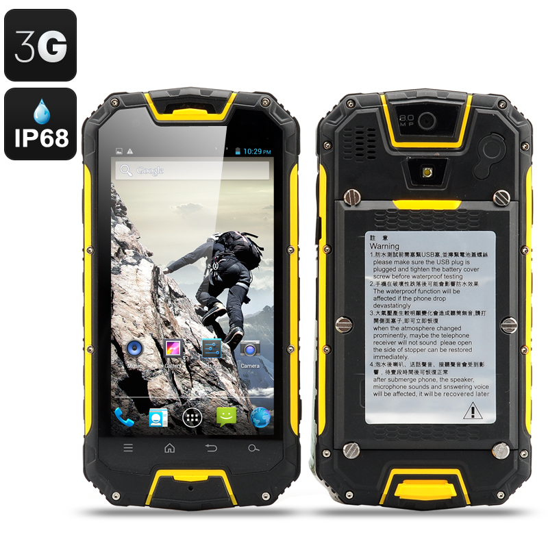 Rugged Smartphone Walkie Talkie 4 5 Inch Ip68 Waterproof Shockproof Dust Proof Android 3g Dual Sim Yellow