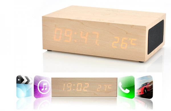 Wireless Qi charging wooden led clock