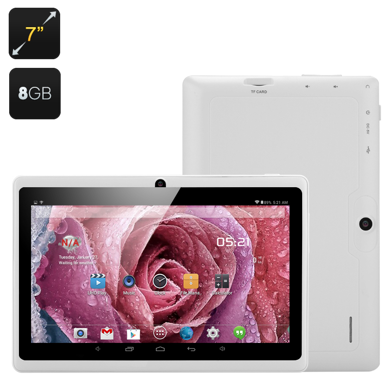 7 Inch Android Tablet - Android 4 4, Quad Core Allwinner A33 CPU, Mali 400  GPU, Bluetooth, Wi-Fi, OTG (White)
