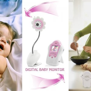 Baby Monitor - Night Vision, AV OUT, Flower Design, Pink