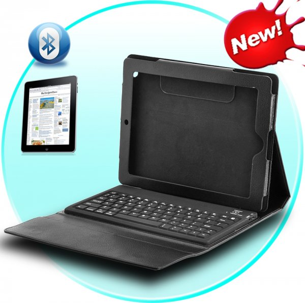 iPad and iPad 2 Leather Case & Spill Proof Wireless Keyboard