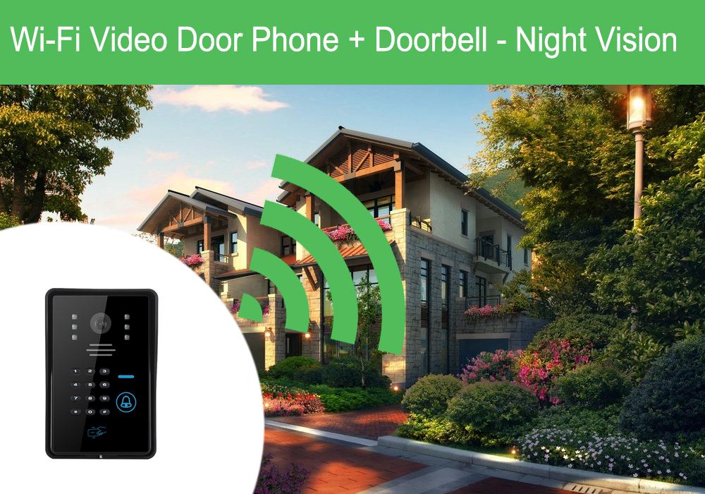 Wi-Fi Video Door Phone + Doorbell - Night Vision, IOS + Android App, Remote  Unlock, 5 Key Fobs, Mini Remote