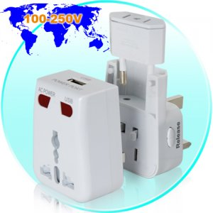 World Travel Adapter with USB Charging Port