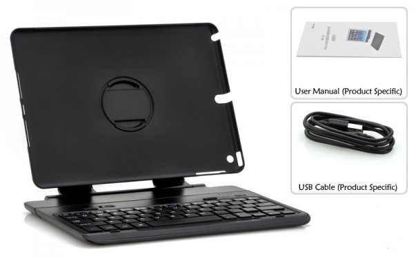 iPad 2 & 3 Detachable Bluetooth Keyboard Case 360 Degree Rotating