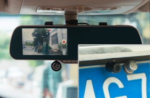 android rearview mirror in a car