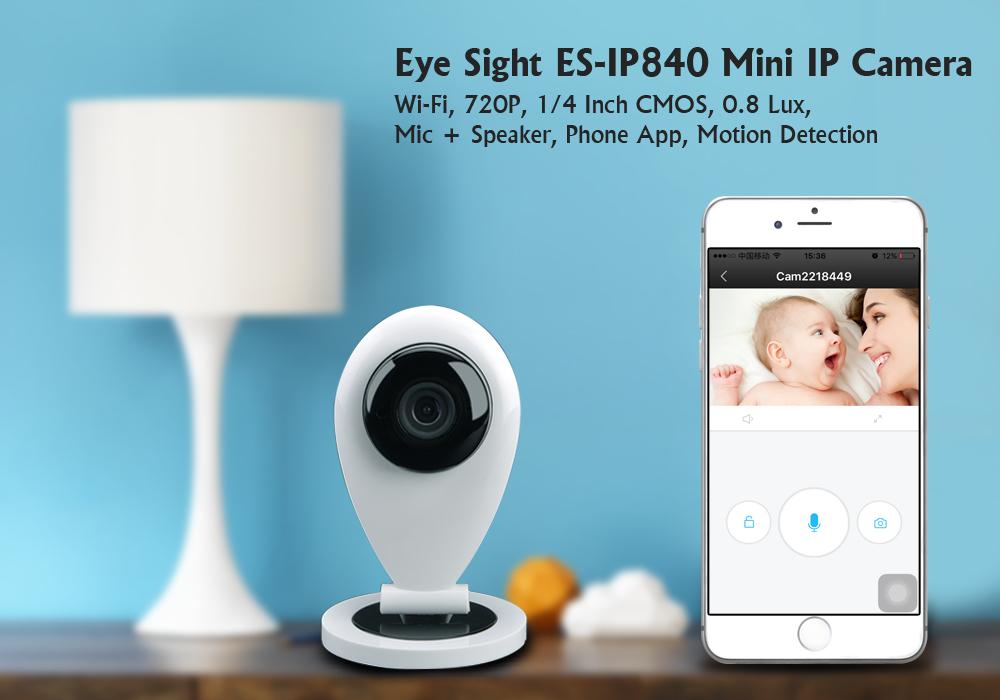 Mini IP Camera Wi-Fi, 720P, 0 8 Lux, Mic + Speaker, Phone App & Motion  Detection