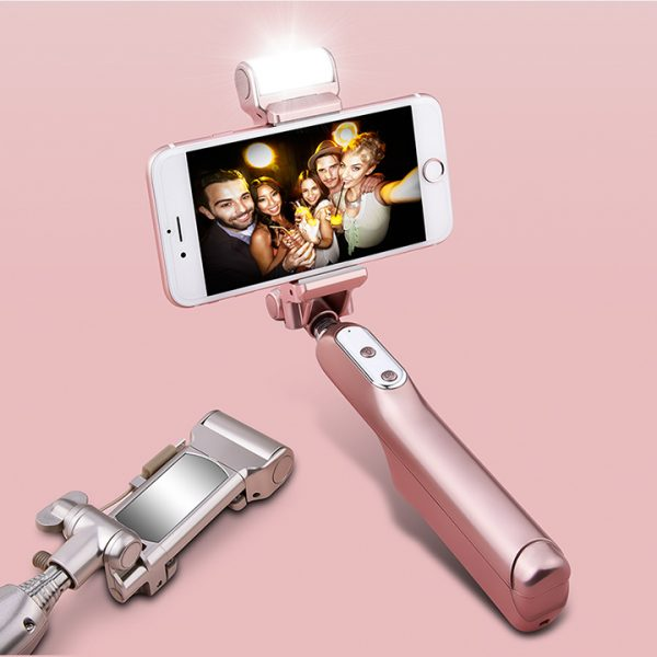 selfie stick for android ios 270 degree angle rotation 1500mah battery led flash rose. Black Bedroom Furniture Sets. Home Design Ideas
