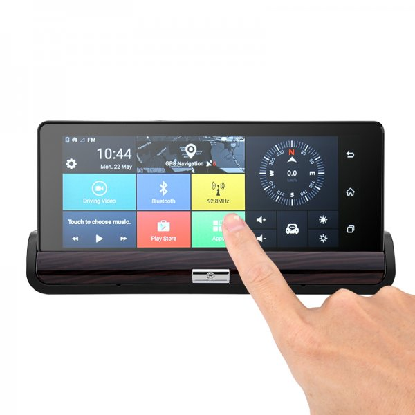 finger pointing at android car DVR system