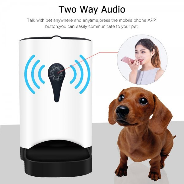 automatic food dispenser with a dog and woman talking on cell-phone
