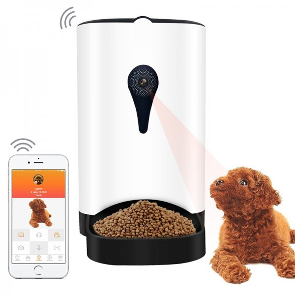 automatic food dispenser with a dog and cell-phone on