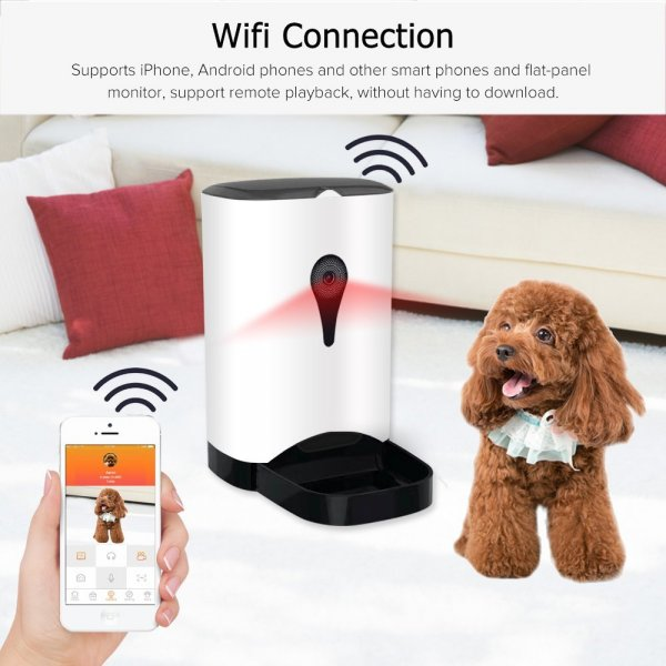 automatic food dispenser with dog and cell-phone on
