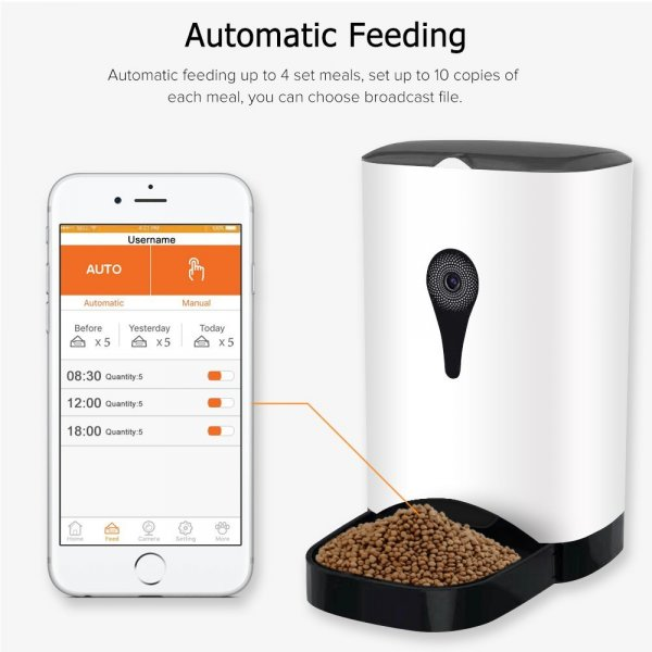 automatic food dispenser and cell-phone on