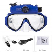 blue camera goggles with specifications in three text boxes