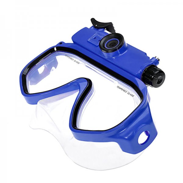 blue camera goggles
