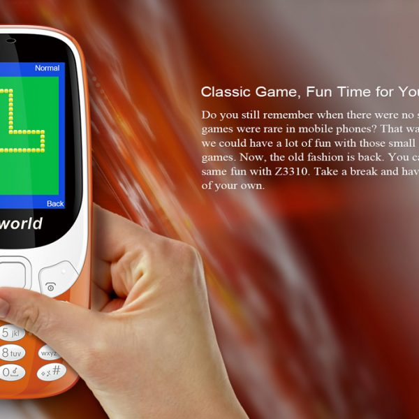 a hand holding orange cell-phone beside text on the right