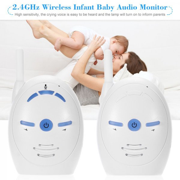 two white baby monitors with mother holding a baby in the back