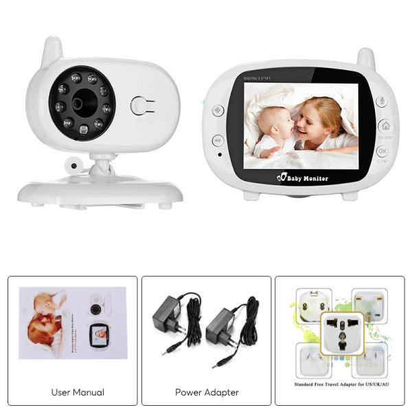 baby monitors with user manual power adapter and other specifications in separate boxes