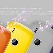grey surface with text and notes above four orange yellow grey and dark blue phones