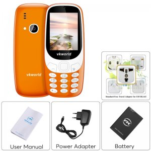 orang cell phone back and front view with separate adapter photos user manual and battery