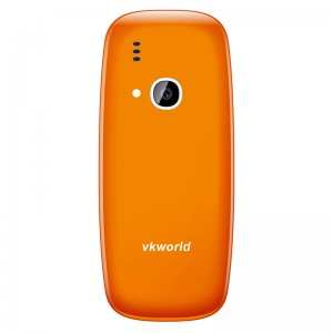 back of an orange cell-phone with a camera