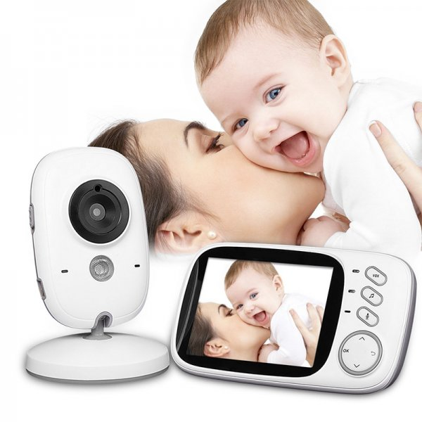 white baby monitor and display with mother kissing smiling baby