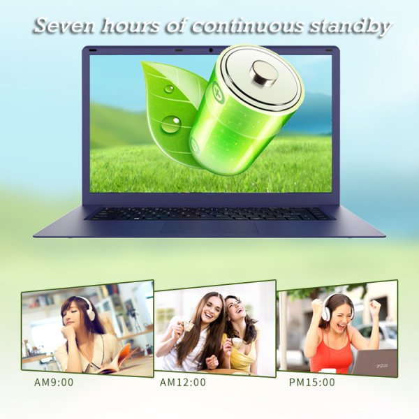 green battery picture on laptop below three picture of girls and headphones