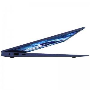 side look on half opened laptop