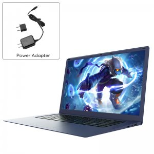 power adapter and a cartoon character on laptop display