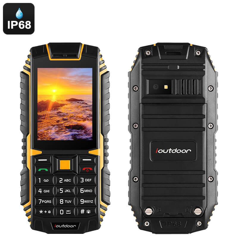 buy popular 396c3 cb535 Rugged Waterproof Phone with Dual-IMEI, 2100mAh Battery, IP68 Waterproof,  Bluetooth, 2MP Camera, Flashlight (Yellow)