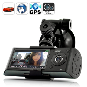 Dual Camera Car Blackbox DVR with GPS Logger