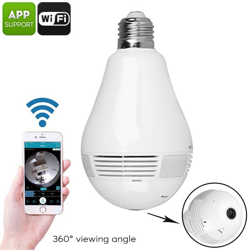 Led Light Bulb Security Camera 360 Degree Fisheye Cts