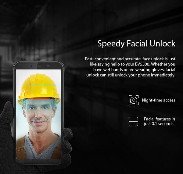BlackView BV5500 facial unlock